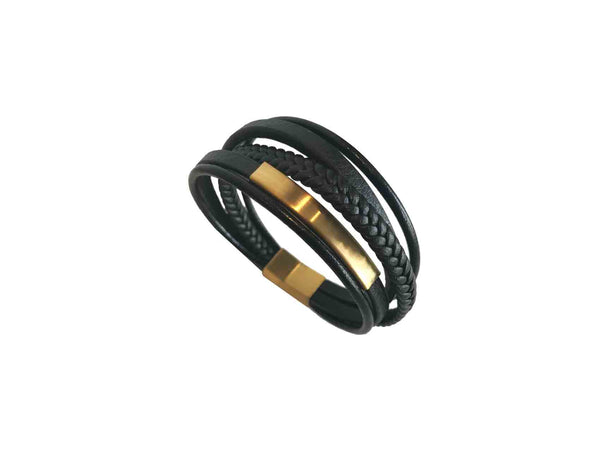 Alex Flamingo Men's Leather Bracelet - Gold