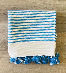 MOROCCAN BATHMAT WITH TASSLES - BLUE