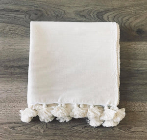 MOROCCAN BATHMAT WITH TASSLES - NATURAL