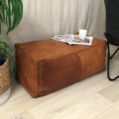 TAN - MOROCCAN LONG LEATHER OTTOMAN