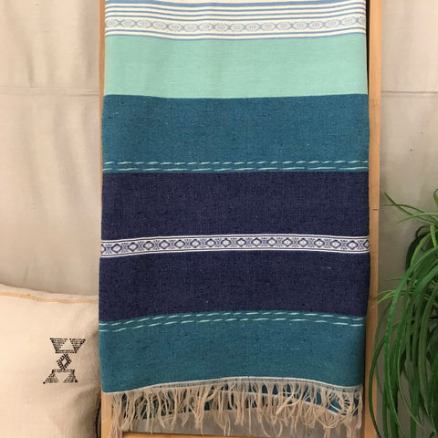 BLUE HAND LOOMED MOROCCAN SILK BLANKET