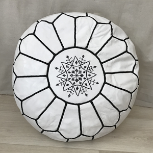 MOROCCAN ROUND LEATHER POUF - WHITE