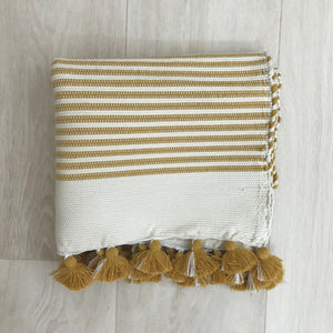 MOROCCAN BATHMAT WITH TASSLES - MUSTARD