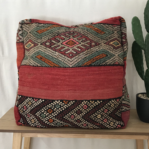 SALE - MOROCCAN FLOOR CUSHION - RED ZEMOUR