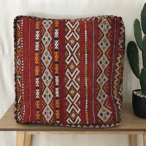 SALE - MOROCCAN FLOOR CUSHION - RED & BLACK ZEMOUR