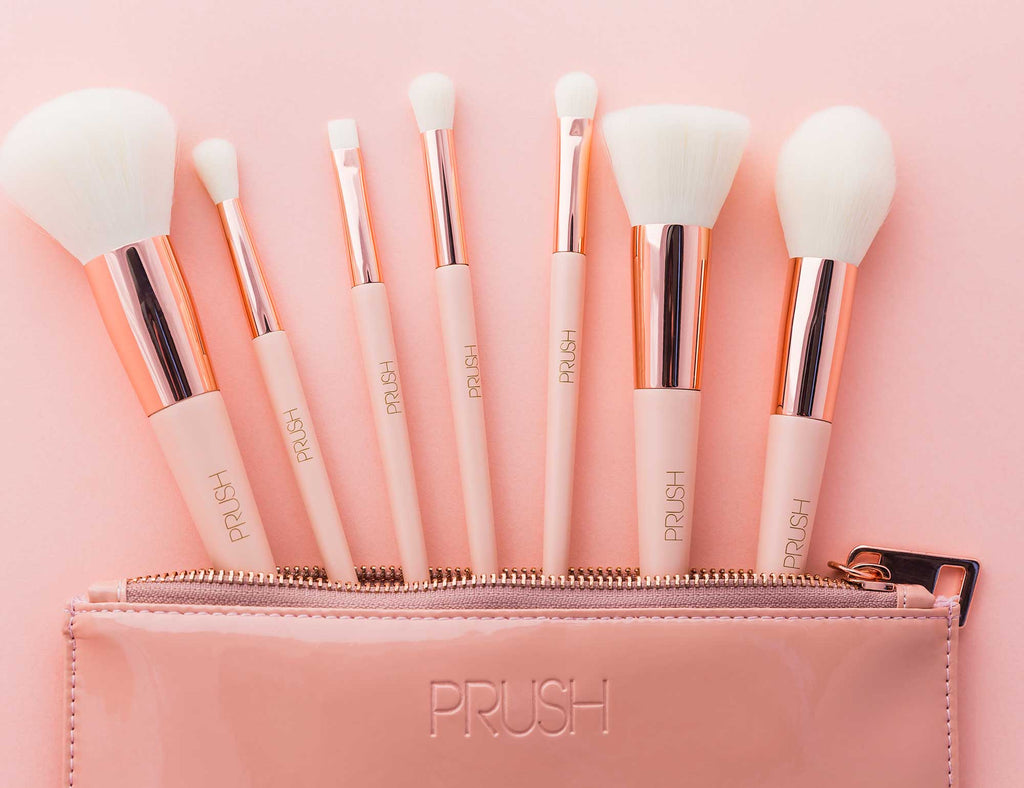The seven brushes and pouch that make up with PRUSH Seven Essentials Brush Pack