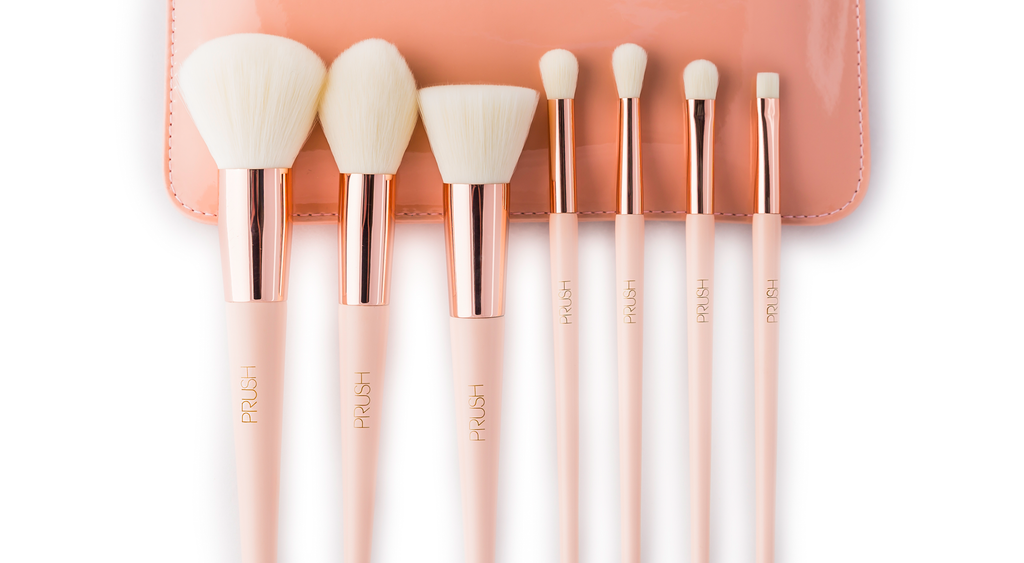 The seven make-up brushes and pouch included in the PRUSH Seven Essentials Brush Pack