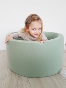 Small khaki toddler ball pit with balls
