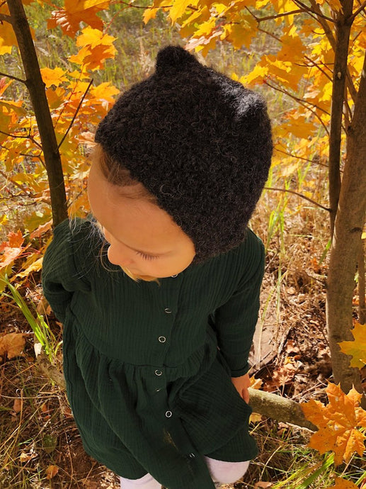 Kids wool hat - black autumn hat