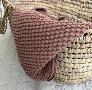 Brown linen baby blanket
