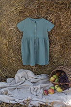 Green cotton girl muslin dress - double gauze