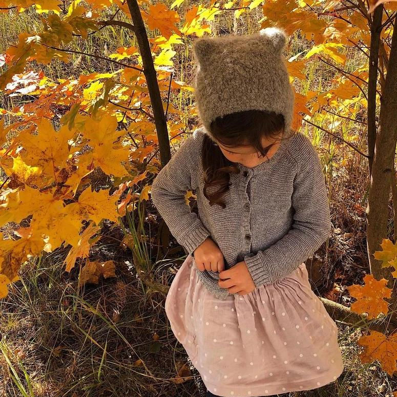 Kids wool hat - grey autumn hat