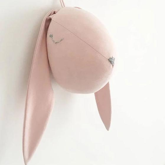 Pink bunny head - animal head decor