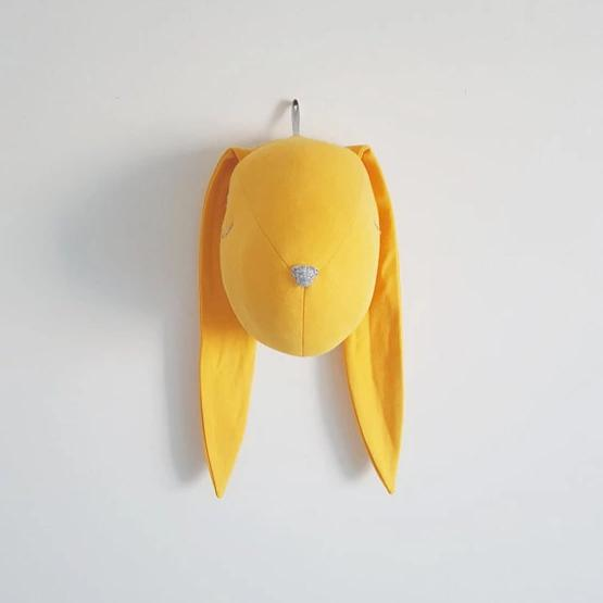 Yellow bunny head - animal head decor