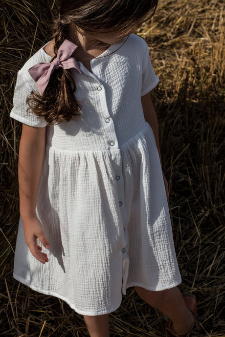 White cotton girl muslin dress - double gauze