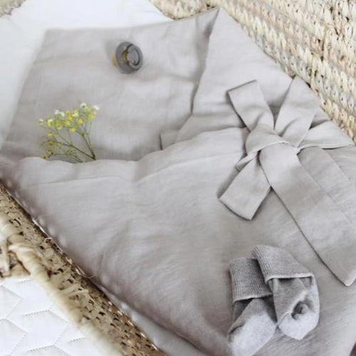 Grey linen baby sleeping envelope