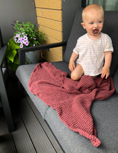 Dusty raspberry linen baby blanket