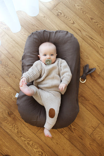 Brown linen baby nest