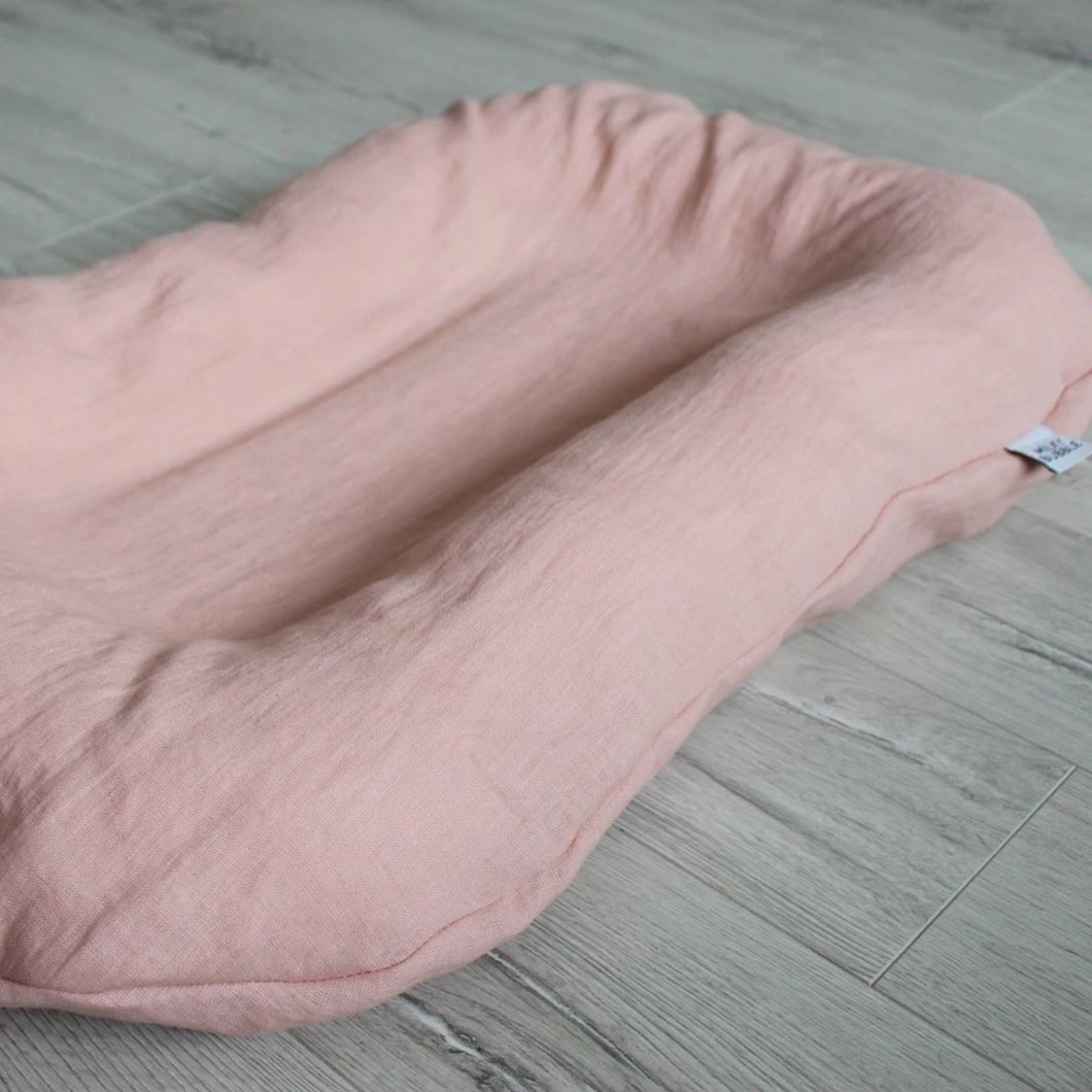 Pink linen baby sleep nest