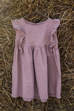 Pink cotton girl dress with ruffles