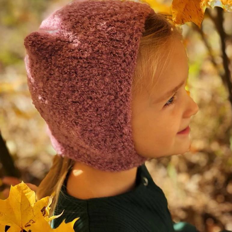 Kids wool hat - pink autumn hat