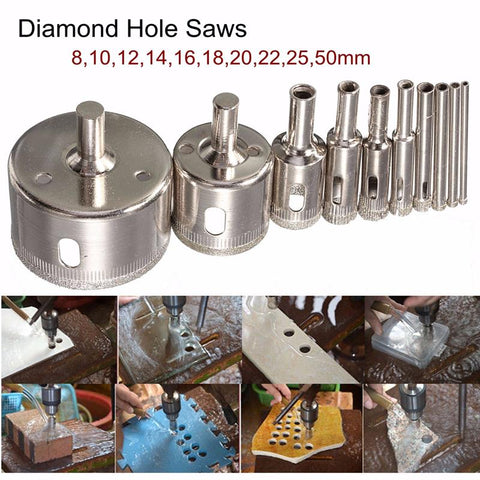 Diamond Hole Saw Drill Bit - Set 10 pcs