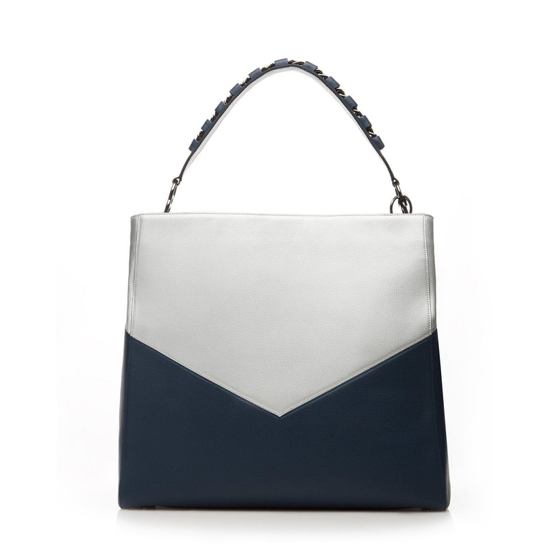 metallic silver/navy anti-theft handbag