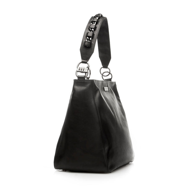 Manhattan black anti-theft handbag