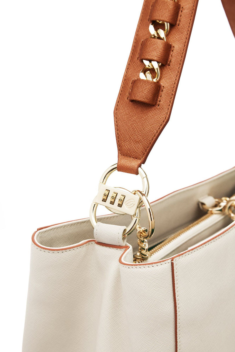 cooper/ivory anti-theft handbag
