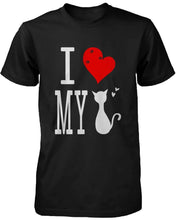 Load image into Gallery viewer, Funny Graphic Statement Womens Black T-shirt - I Love My Cat