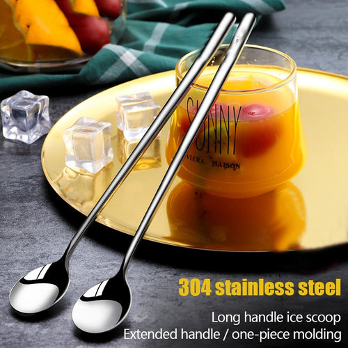 304 Stainless steel dinnerware set spoon tea spoon Dessert coffee ice cream spoons Kitchen accessories Bar tools new long handle