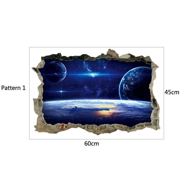 3D Star Universe series Broken wall stickers for kids baby rooms bedroom home decoration decals mural poster sticker on the wall