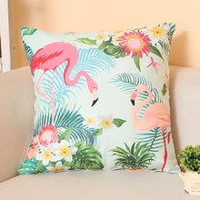 Load image into Gallery viewer, Nordic Flamingo Tropical Leaf Cushion Cover Flower Polyester Throw Pillow Home Decoration Sofa Decorative Pillowcase