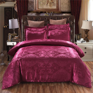 Claroom Jacquard Bedding Set Queen King Size Duvet Cover Silk Bed Linens Quilt High Quality Luxury Gold Colour 2/3pcs Comforter