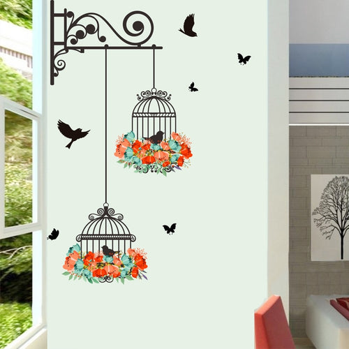 Colorful Flower birdcage flying birds wall sticker Creative home decor living room Decals wallpaper bedroom nursery window decor