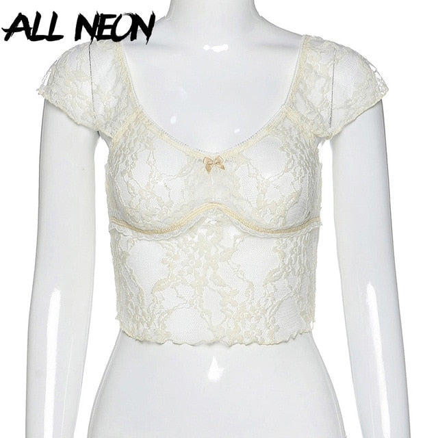ALLNeon Y2K Transparent Squre Collar Mesh Tops Sweet Short Sleeve See Through Floral E-girl Crop Tops Summer Streetwear Fashion