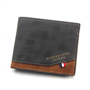 Men's Wallet Money Bag Solid Color Leather Business Short Wallet Famous Vintage Male Walltes Purse Coin Purse