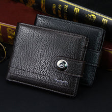 Load image into Gallery viewer, wallet for men made of natural leather portfel meski short Men's Wallets male money clip small carteira masculina couro erkek