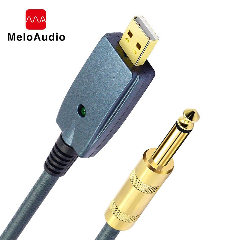 USB to Guitar Cable Interface Male to 6.35mm Jack Electric Guitar Accessories Audio Connector Cord Adapter for Instrument 3M