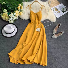 Load image into Gallery viewer, Marwin New-Coming Spring Summer Holiday Dress Cross Spaghetti Strap Open Back Solid Beach Style Ankle-Length Women Dresses