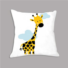 Load image into Gallery viewer, Cartoon Giraffe Lion Elephant Animal Printed White Plush Seat Cushion Throw Pillow 45x45cm Decorative Cushion Sofa Kids Room