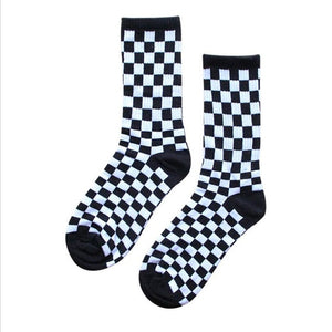 Korea Harajuku Trend Women Checkerboard Socks Geometric Checkered Socks Men Hip Hop Cotton Unisex Streetwear Novelty Socks