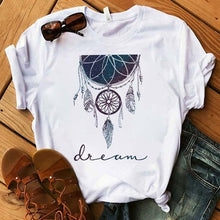 Load image into Gallery viewer, Women's T-shirt Flower Dreamcatcher T-shirt Harajuku O-neck top women's Kawaii Street summer casual clothing short sleeves