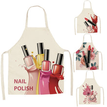 Load image into Gallery viewer, Linen Flower Nail Polish Theme Print Kitchen Aprons Unisex Dinner Party Cooking Bib Funny Pinafore Cleaning Apron