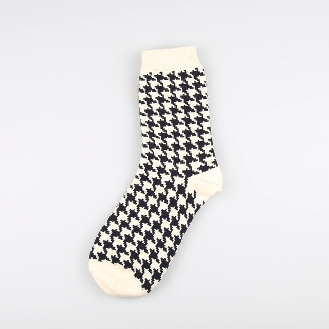 1 Pair Japanese Lattice & Vertical Stripes Harajuku Women/Men Fashion Causal Socks Autumn Winter Classic Black&White Socks