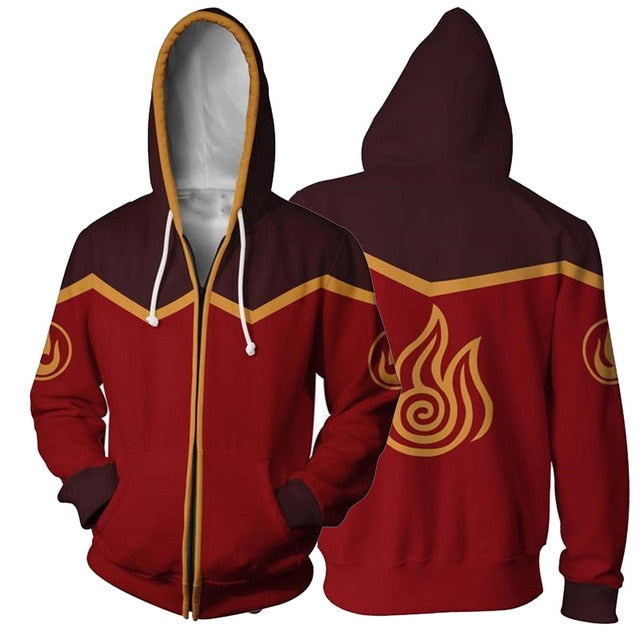 Avatar: The Last Airbender Hoodie 3D Printed Zip Up Polyester Hip Hop Men Hooded Hoodie for Spring Autumn Sportswear