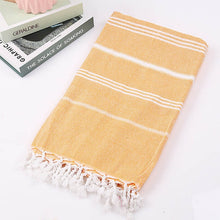 Load image into Gallery viewer, Striped Cotton Turkish Sports Bath Towel with Tassels Travel Gym Camping Bath Sauna Beach Gym Pool Blanket Absorbent Easy Care