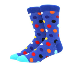 Load image into Gallery viewer, 1 pair men socks combed cotton bright colored funny socks men's calf crew socks for business causal dress wedding gift sok