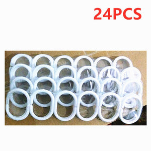24PCS/Set New Curtain Poles Shower Rod Hook Hanger Home White Color Plastic Ring Bath Drape Loop Clasp Drapery Clips