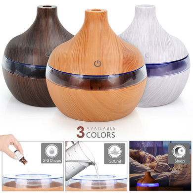 300ML USB Air Humidifier Electric Aroma Diffuser Mist Wood Grain Oil Aromatherapy Mini Have 7 LED Light For Car Home Office